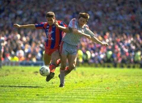 Action shot: Crystal Palace vs. Liverpool, 1990
