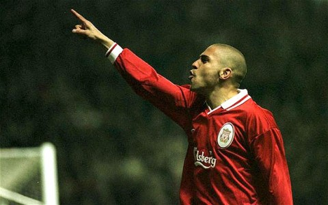 Stan Collymore, then of Liverpool, pointing