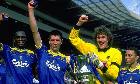 Wimbledon celebrate their 1988 FA Cup final victory