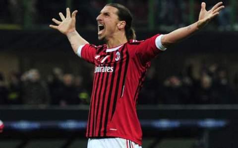 Zlatan Ibrahimovich celebrates after scoring against Arsenal